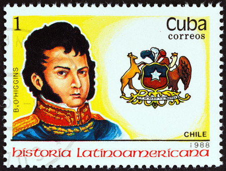 CUBA - CIRCA 1988  A stamp printed in Cuba from the  Latin American History  3rd series   issue shows Coat of Arms and Bernardo O Higgins  Chile , circa 1988   Editorial
