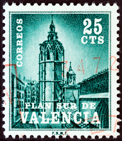 VALENCIA - CIRCA 1966  A stamp printed in Spain shows Miguelete Bell Tower, Valencia, circa 1966