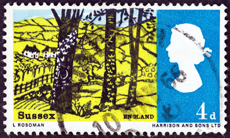 timbre: UNITED KINGDOM - CIRCA 1966  A stamp printed in United Kingdom from the  Landscapes   issue shows view near Hassocks, Sussex, circa 1966   Editorial