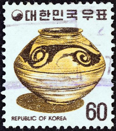 collectible: SOUTH KOREA - CIRCA 1975  A stamp printed in South Korea shows a ceramic vase, circa 1975   Editorial