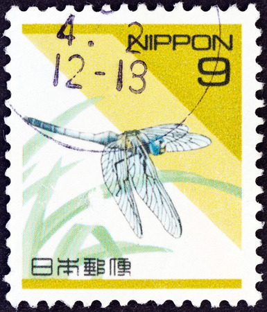 libellulidae: JAPAN - CIRCA 1992  A stamp printed in Japan shows a dragonfly  Orthetrum albistylum , circa 1992