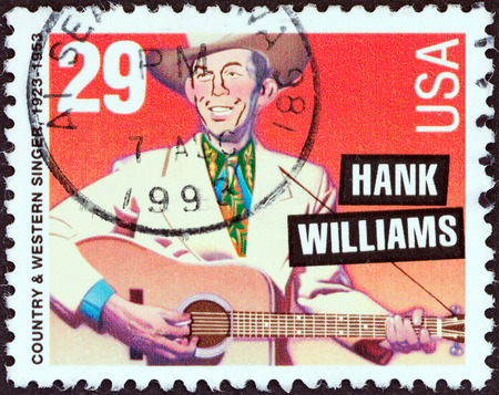 country music: USA - CIRCA 1993  A stamp printed in USA from the  American Music Series  issue shows Hank Williams  country   western singer , circa 1993