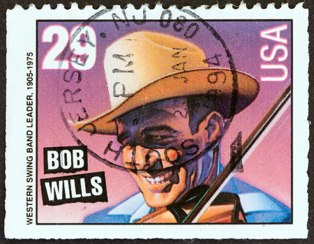 timbre: USA - CIRCA 1993  A stamp printed in USA from the  American Music Series  issue shows Bob Wills  Western swing band leader , circa 1993