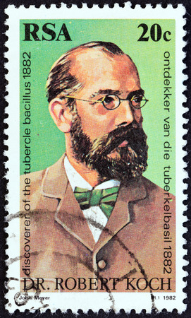SOUTH AFRICA - CIRCA 1982  A stamp printed in South Africa issued for the 100th anniversary of the discovery of Tubercle Bacillus shows Dr  Robert Koch, circa 1982   Editorial