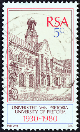 suid: SOUTH AFRICA - CIRCA 1980  A stamp printed in South Africa issued for the 50th anniversary of University of Pretoria shows University of Pretoria, circa 1980