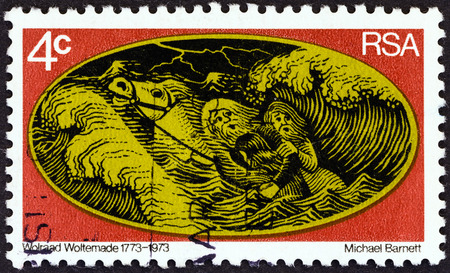 suid afrika: SOUTH AFRICA - CIRCA 1973  A stamp printed in South Africa from the  200th anniversary of the rescue by Wolraad Woltemade   issue shows horse, circa 1973