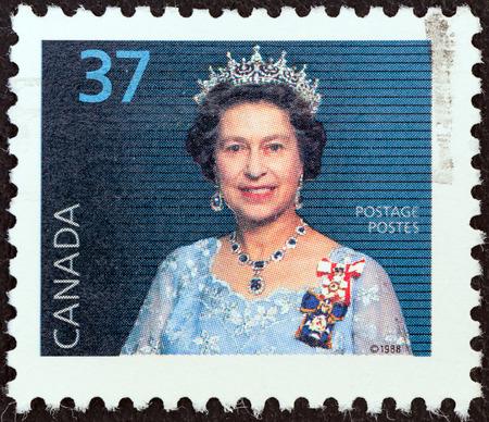 canada stamp: CANADA - CIRCA 1988  A stamp printed in Canada shows Queen Elizabeth II, circa 1988