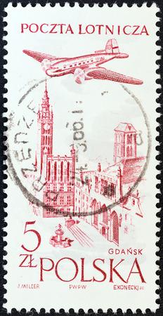POLAND - CIRCA 1957  A stamp printed in Poland shows City Hall, Gdansk, circa 1957