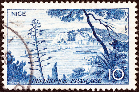 alpes maritimes: FRANCE - CIRCA 1955  A stamp printed in France from the  Views  issue shows Nice, circa 1955