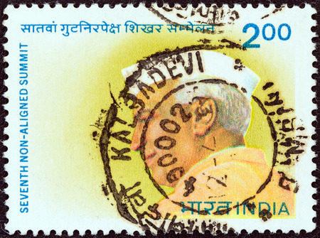 indian postal stamp: INDIA - CIRCA 1983  A stamp printed in India issued for the 7th Non aligned Summit Conference, New Delhi shows the first Prime minister of India Jawaharlal Nehru, circa 1983   Editorial