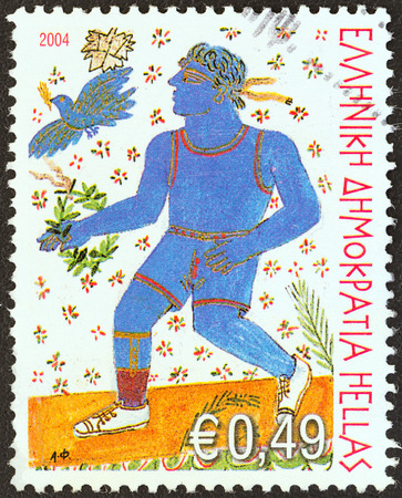 stempeln: GREECE - CIRCA 2004  A stamp printed in Greece from the  Paralympic Games  The Power of Will  issue shows Handicapped runner, circa 2004   Editorial
