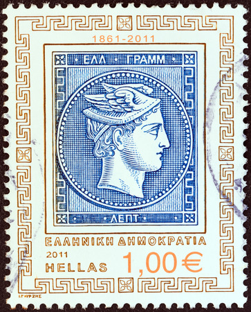 stempeln: GREECE - CIRCA 2011  A stamp printed in Greece from the  150 Years since the issue of the First Greek Stamp  issue shows depiction of 20 lepta stamp  Head of god Hermes , circa 2011
