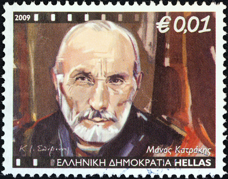 manos: GREECE - CIRCA 2009  A stamp printed in Greece from the  Greek Actors  issue shows Manos Katrakis, circa 2009