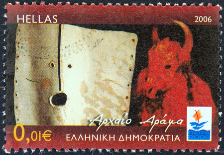 stempeln: GREECE - CIRCA 2006  A stamp printed in Greece from the  Patra European Capital of Culture 2006  issue shows Ancient Drama, circa 2006