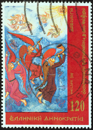 stempeln: GREECE - CIRCA 2000  A stamp printed in Greece from the  Ecumenical Patriarchate  issue shows Doxology, circa 2000   Editorial
