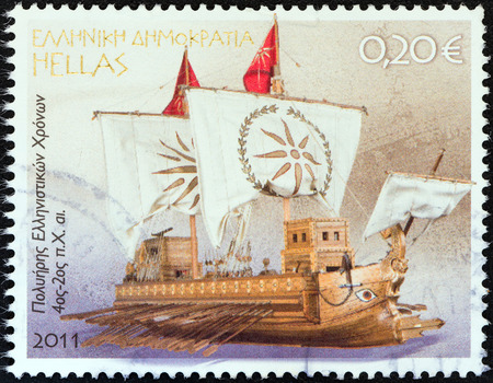 GREECE - CIRCA 2011  A stamp printed in Greece from the   Greek Shipping  issue shows Hellenistic Poltrene  4th to 2nd Century B C  , circa 2011
