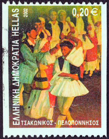 stempeln: GREECE - CIRCA 2002  A stamp printed in Greece from the  Greek Dances  issue shows Tsakonikos dance, Peloponnese, circa 2002