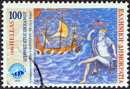 GREECE - CIRCA 1999  A stamp printed in Greece from the  International year of the ocean  issue shows sailing ship, god Poseidon, circa 1999