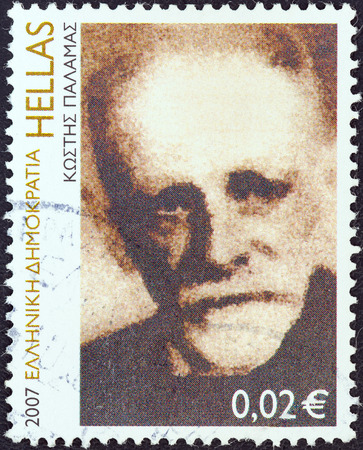 stempeln: GREECE - CIRCA 2007  A stamp printed in Greece from the  Anniversaries and Events  issue shows poet Kostis Palamas  Engraving by Giannis Gourzis , circa 2007   Editorial