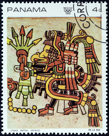 PANAMA - CIRCA 1968  A stamp printed in Panama from the  1968 Summer Olympics, Mexico City   issue shows Detail from the  Codex Nutall , circa 1968