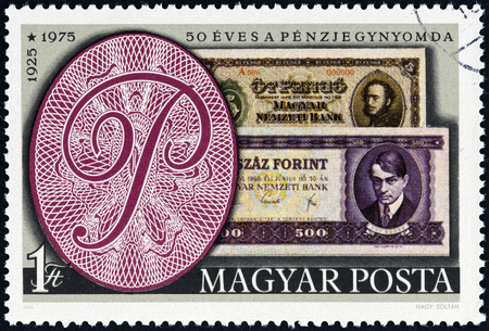 magyar: HUNGARY - CIRCA 1976  A stamp printed in Hungary issued for the 50th Anniversary of the Hungarian Bank Note Corporation shows banknotes of 1925 and 1975, circa 1976