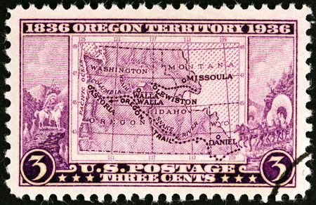 indian postal stamp: USA - CIRCA 1936  A stamp printed in USA issued for the Oregon Centenary shows Map of Old Oregon Territory, circa 1936   Editorial
