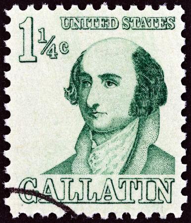 congressman: USA - CIRCA 1967  A stamp printed in USA from the  Prominent Americans   issue shows Albert Gallatin, circa 1967