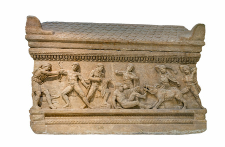Roman period marble attic sarcophagus found in Peloponnese, Greece shows the hunt for the Calydonian boar. photo