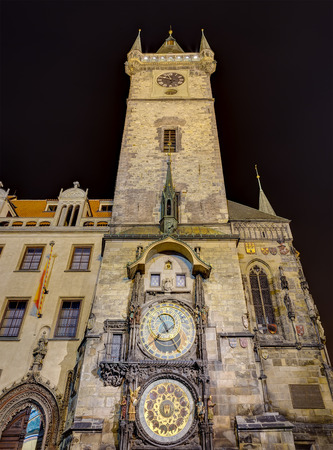 The Astronomical clock at night, Prague, Czech Republic  photo