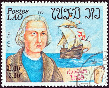 LAOS - CIRCA 1983: A stamp printed in Laos from the Explorers and their Ships  issue shows Christopher Columbus and Santa Maria, circa 1983.