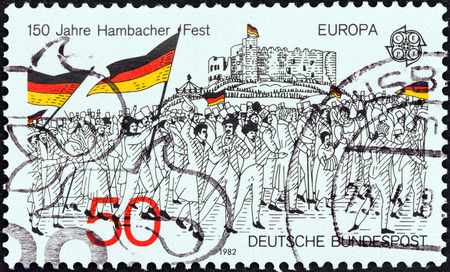 bundespost: GERMANY - CIRCA 1982: A stamp printed in Germany from the \Europa\ issue shows the rally to Hambach Castle, 1832 (wood engraving), circa 1982.