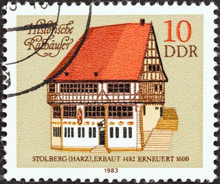 town halls: GERMAN DEMOCRATIC REPUBLIC - CIRCA 1983: A stamp printed in Germany from the \Historic Town Halls\ issue shows Stolberg Town Hall, circa 1983.