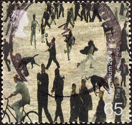 lowry: UNITED KINGDOM - CIRCA 2000: A stamp printed in United Kingdom from the \Millennium Projects (5th series). Art and Craft\ issue shows People of Salford (Lowry Centre, Salford), circa 2000.