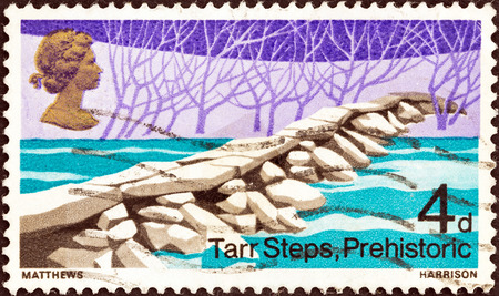 UNITED KINGDOM - CIRCA 1968: A stamp printed in United Kingdom from the \British Bridges\ issue shows Tarr Steps, Exmoor, circa 1968.