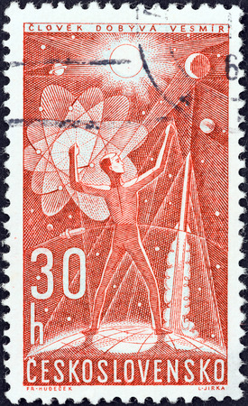 conquers: CZECHOSLOVAKIA - CIRCA 1962: A stamp printed in Czechoslovakia from the Space Research (2nd series) issue shows man conquers space, circa 1962.  Editorial