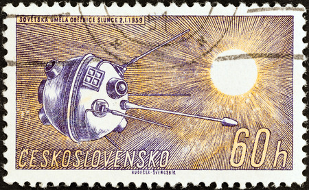 CZECHOSLOVAKIA - CIRCA 1961: A stamp printed in Czechoslovakia from the Space Research (1st series) issue shows Luna 1, circa 1961.