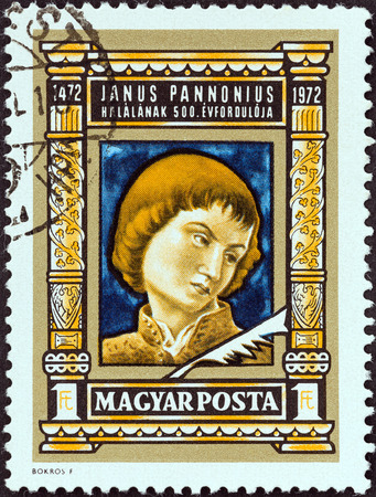 janus: HUNGARY - CIRCA 1972: A stamp printed in Hungary issued for the 500th death anniversary of poet Janus Pannonius shows Janus Pannonius (by Andrea Mantegna), circa 1972.