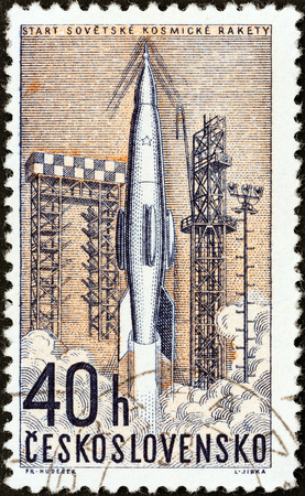 CZECHOSLOVAKIA - CIRCA 1962: A stamp printed in Czechoslovakia from the Space Research (2nd series) issue shows launching of Soviet rocket, circa 1962.