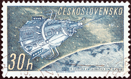 CZECHOSLOVAKIA - CIRCA 1961: A stamp printed in Czechoslovakia from the Space Research (1st series) issue shows Sputnik 3, circa 1961.