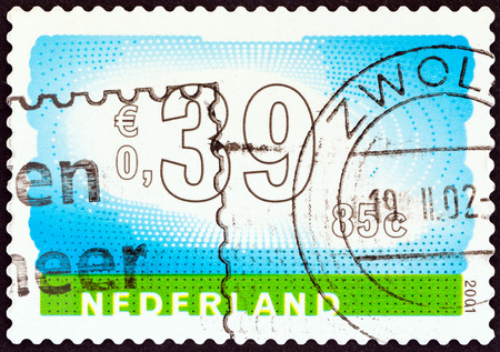 nederlan: NETHERLANDS - CIRCA 2001: A stamp printed in the Netherlands shows sky and landscape, circa 2001.  Editorial