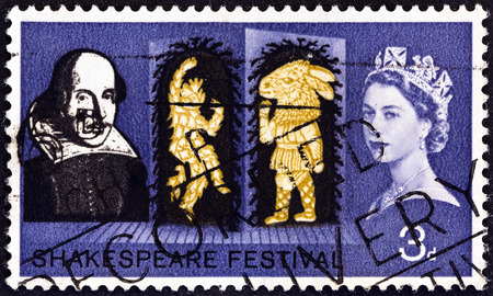 UNITED KINGDOM - CIRCA 1964: A stamp printed in United Kingdom from the Shakespeare Festival  issue shows Puck and Bottom (A Midsummer Nights Dream), circa 1964.