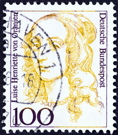 bundespost: GERMANY - CIRCA 1986: A stamp printed in Germany from the \Famous German Women\ issue shows mother of King Friedrich I of Prussia Luise Henriette of Orange, circa 1986.