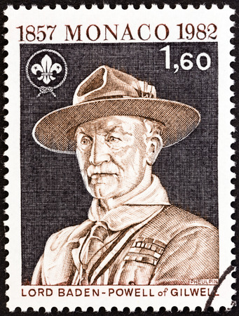 monegasque: MONACO - CIRCA 1982: A stamp printed in Monaco issued for the 125th anniversary of the birth of Lord Baden-Powell shows Lord Baden-Powell, circa 1982.  Editorial