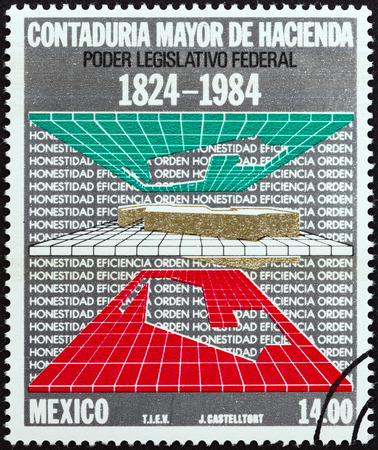 MEXICO - CIRCA 1984: A stamp printed in Mexico issued for the 160th anniversary of State Audit Office shows Maps, Graph and Text, circa 1984.