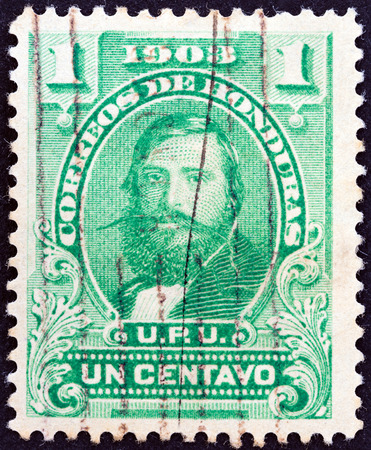 HONDURAS - CIRCA 1903: A stamp printed in Honduras shows General Santos Guardiola, circa 1903.