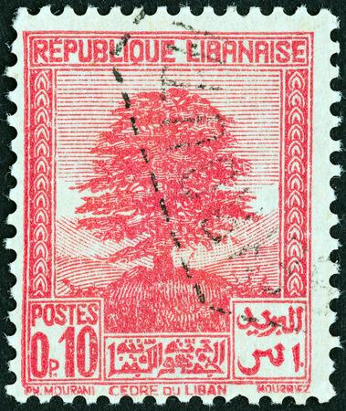 libani: LEBANON - CIRCA 1937: A stamp printed in Lebanon shows Cedar of Lebanon, circa 1937.