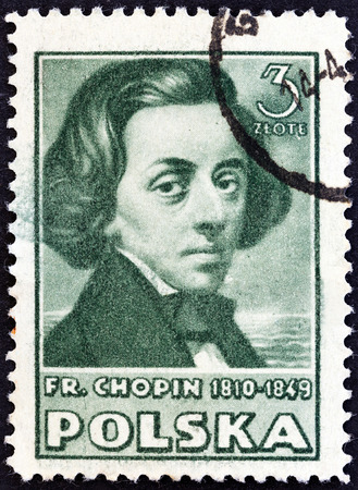 fryderyk chopin: POLAND - CIRCA 1947: A stamp printed in Poland from the Polish Culture  issue shows Frederic Chopin, circa 1947.  Editorial