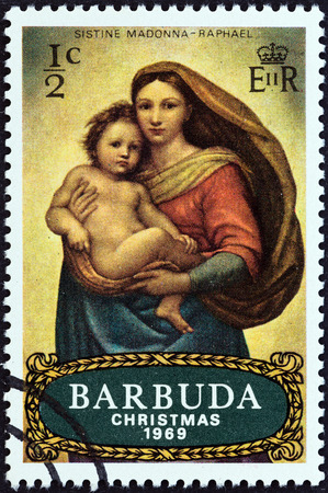 BARBUDA - CIRCA 1969: A stamp printed in Antigua from the Christmas  issue shows Sistine Madonna by Raphael, circa 1969.
