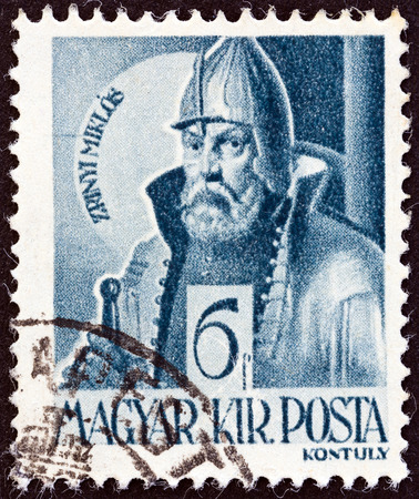 estampilla: HUNGARY - CIRCA 1943: A stamp printed in Hungary from the The Church in Hungary  issue shows Miklos Zrinyi, circa 1943.  Editorial
