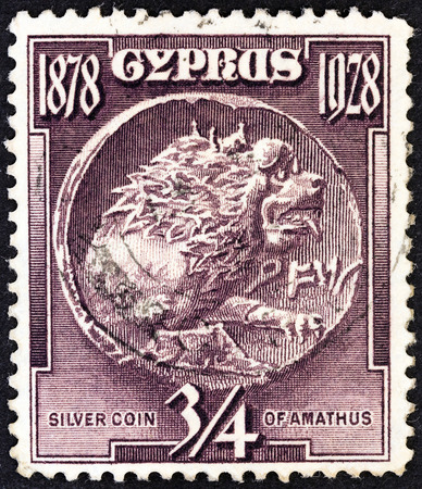 kypros: CYPRUS - CIRCA 1928: A stamp printed in Cyprus from the 50th Anniversary of the Colonies issue shows silver coin of Amathus, circa 1928. Editorial